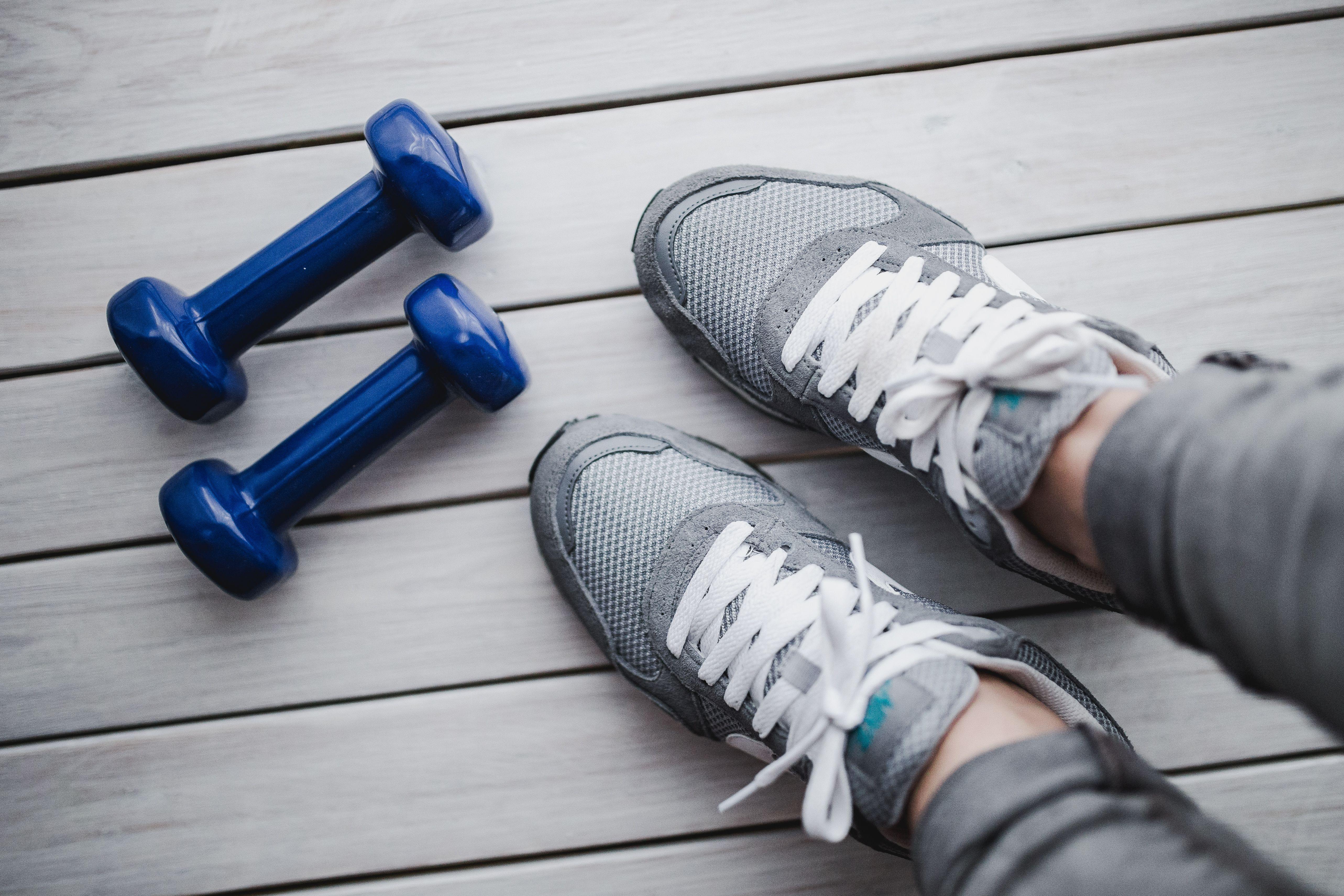 kaboompics_Grey sport shoes